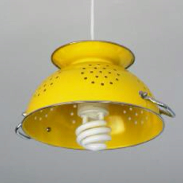 Yellow Strainer Refurbished Light Fixture Maybe With An Old Fashioned Bulb If You Can Still Them House Fixtures Home Pendant Lamp