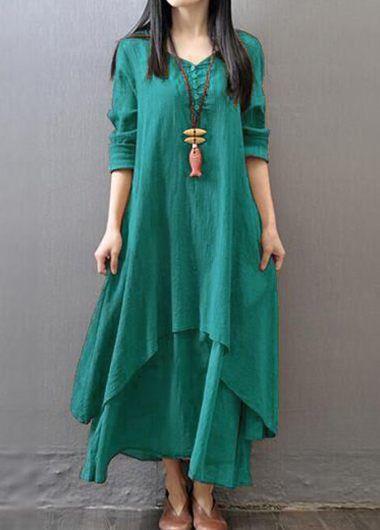 Green V Neck Long Sleeve Button Design Dress | Rosewe.com - USD $25.39
