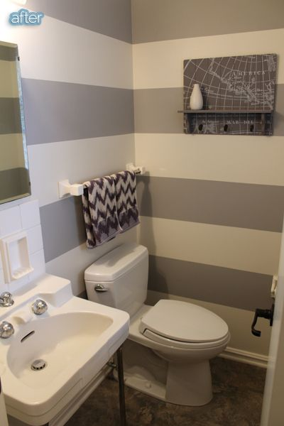 $33 Bathroom makeover on a budget. Shows what a huge difference can be made with just a bit of paint and accessories.