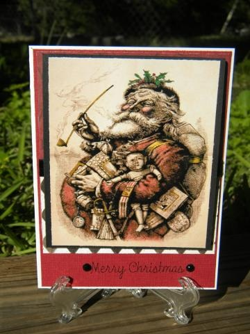 Thomas Nast illustration printed on antiqued card stock, chalk painted and accented with gel inks, mounted on heavy card stock and made into a Christmas card. How much more nostalgic can it get?