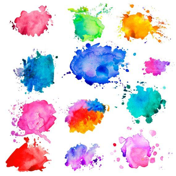 Watercolor Stains Watercolor Clipart Watercolor Splashes