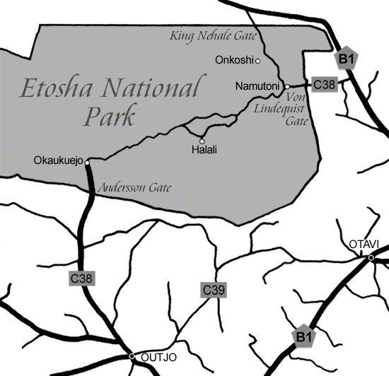 Map | Onkoshi Camp | Etosha Park | Namibia