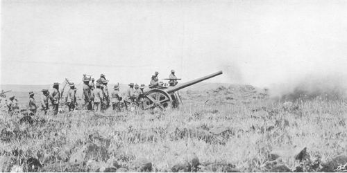 Royal Navy 4.7 inch gun in action at the Battle of Colenso on 15th December 1899 during the Boer War