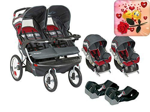 On-the-go moms, get ready to roll with your little ones and the #Baby #Trend Navigator Double Jogger Travel System. This versatile jogging stroller features swive...