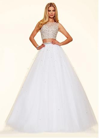 Marvelous Two-piece Tulle Scoop Neckline Ball Gown Quinceanera Dresses With Beadings