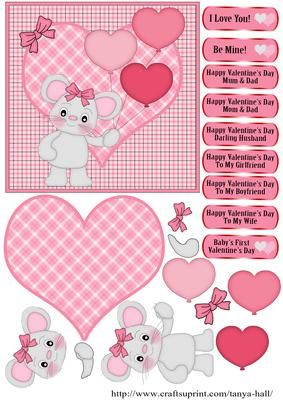 Mouse With Heart Balloons Valentine's Day Quick Card