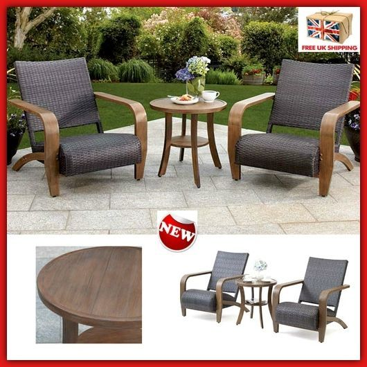 Outdoor Garden Table & Chair Set Patio Wicker Padded Bistro Clearance Furniture