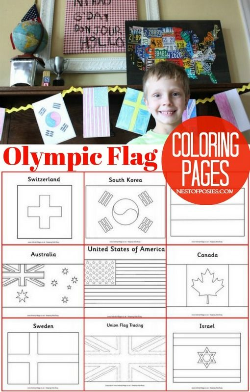 Use these Olympic Flag Coloring Pages to let your kids craft and color with them. Perfect to learn the countries, flags and more about the Winter games.