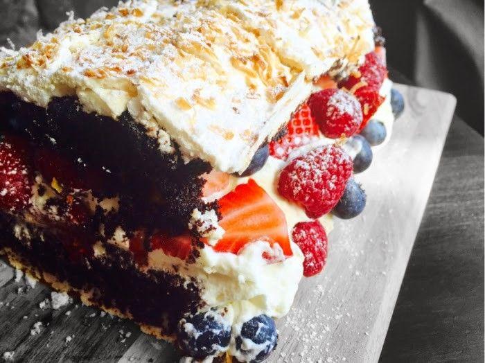 Dette er en drøm av enkake! Verdens Beste eller Kvæfjordkake medsjokoladekake! Det må jo bare bli godt! Deilig sjokoladekake med søt krønsjy marengs, fylt med vaniljekrem, krem og friske bær! Rask å lage er den også og den kan lages i god tid før servering! Helt klart en ny favoritt! Jeg fant også en helt …
