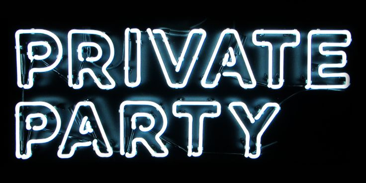 Private Party Neon Lights | Light Up Sign | Wall Art Words | Typography | Outlined Font