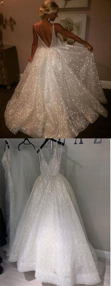 Charming Backless Sequined A Line Long Prom Dresses,Formal Women Dress #sequin #ivory #aline #prom #long #okdresses