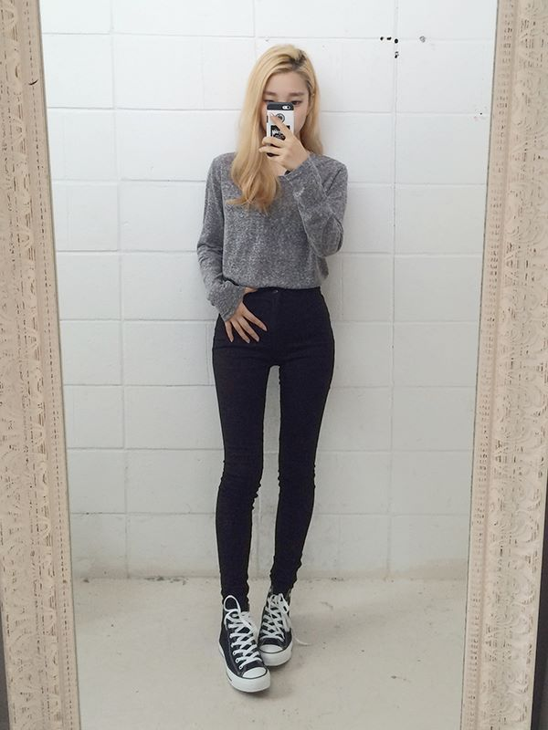 highwaisted jeans w cropped sweater #kfashion, #Accessoriesteenssimple