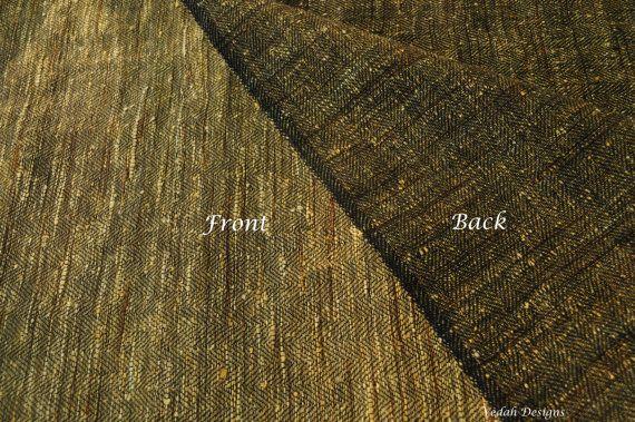 Honey Gold khadi silk Herringbone fabric Handloom fabric