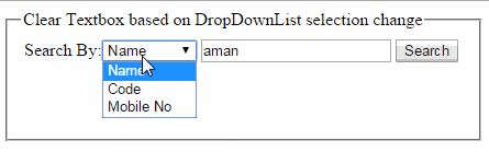 jQuery to clear Asp.Net textbox based on dropdownlist selected item change http://www.webcodeexpert.com/2015/07/jquery-to-clear-aspnet-textbox-based-on.html