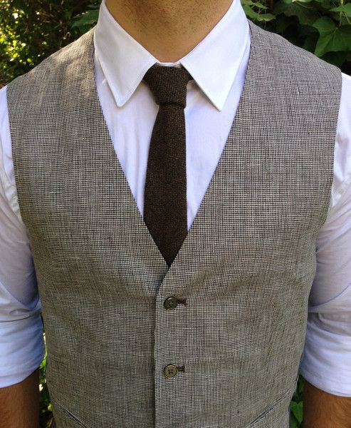 The Wimbledon Tweed Skinny Tie shown with Zara Vest & Shirt. Dapper Bartender / Barber look for the Modern Man. Made in Los Angeles, USA.