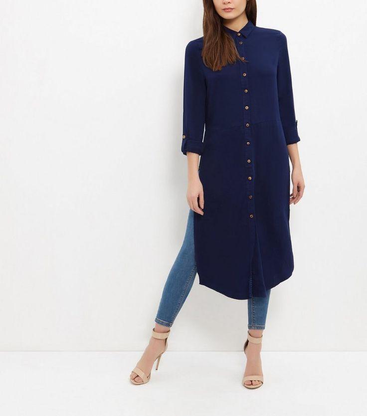 Blue Vanilla - Chemise longue bleu marine à fente sur le côté | New Look