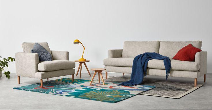 Kotka 3 Seater Sofa, Romario Stone   MADE.com