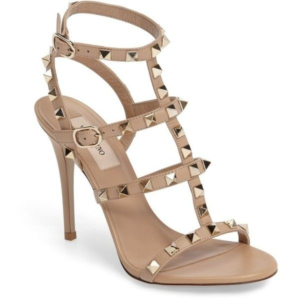 Women's Valentino Garavani 'Rockstud' Ankle Strap Sandal (29.970 UYU) ❤ liked on Polyvore featuring shoes, sandals, heels, valentino, camel rose, valentino shoes, camel sandals, strappy heeled sandals, strappy sandals and ankle strap sandals