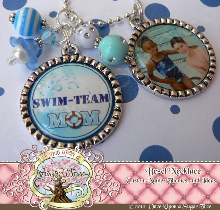 SWIM TEAM Mom with Child's Photo Bezel Necklace-Swim Team by Once Upon a Sugar Tree