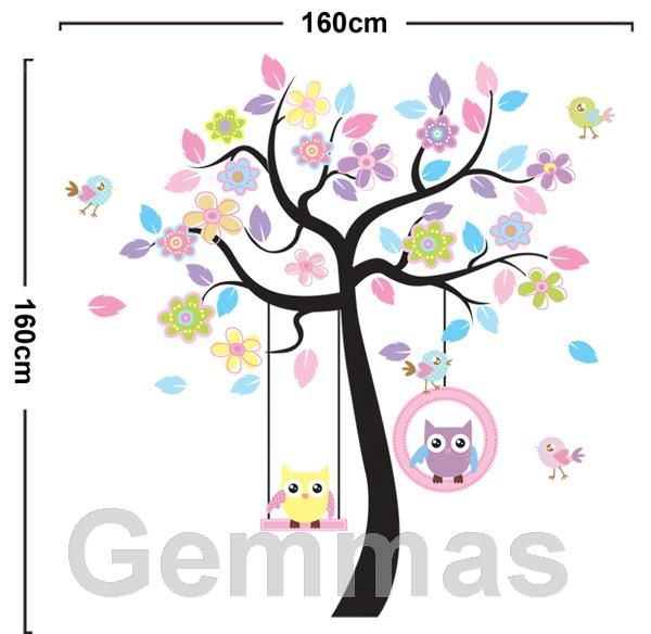 Väggdekor för barn Uggla i träd