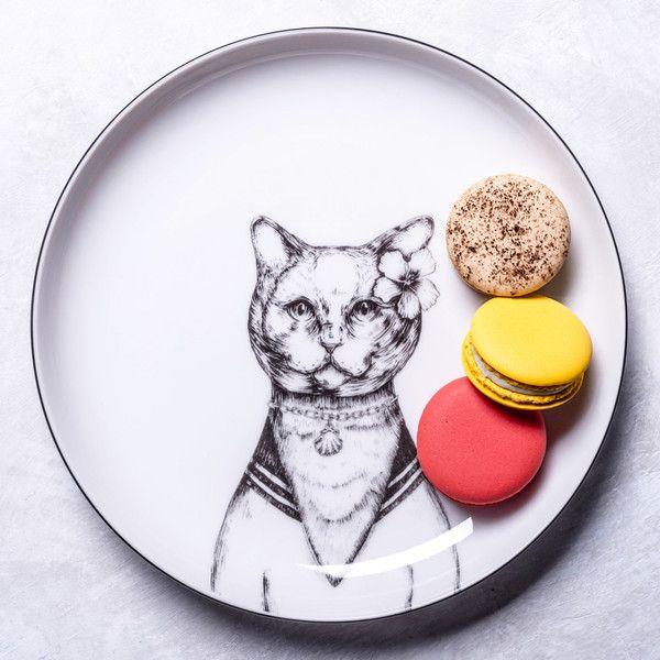 Talerz deserowy z kotem - GiftWorkshop - Talerze