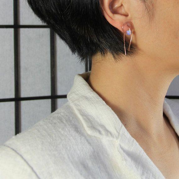 rosa 14k oro opalite 3D scultura lacrima di AnniDesignsllc su Etsy