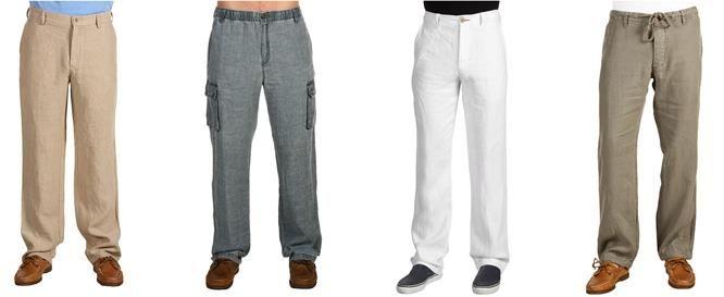 Белые мужские льняные брюки купить