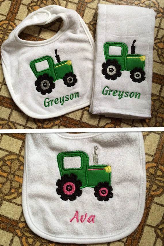 Personalized Boy Or Girl Tractor Bib Amp Burp Cloth Set By