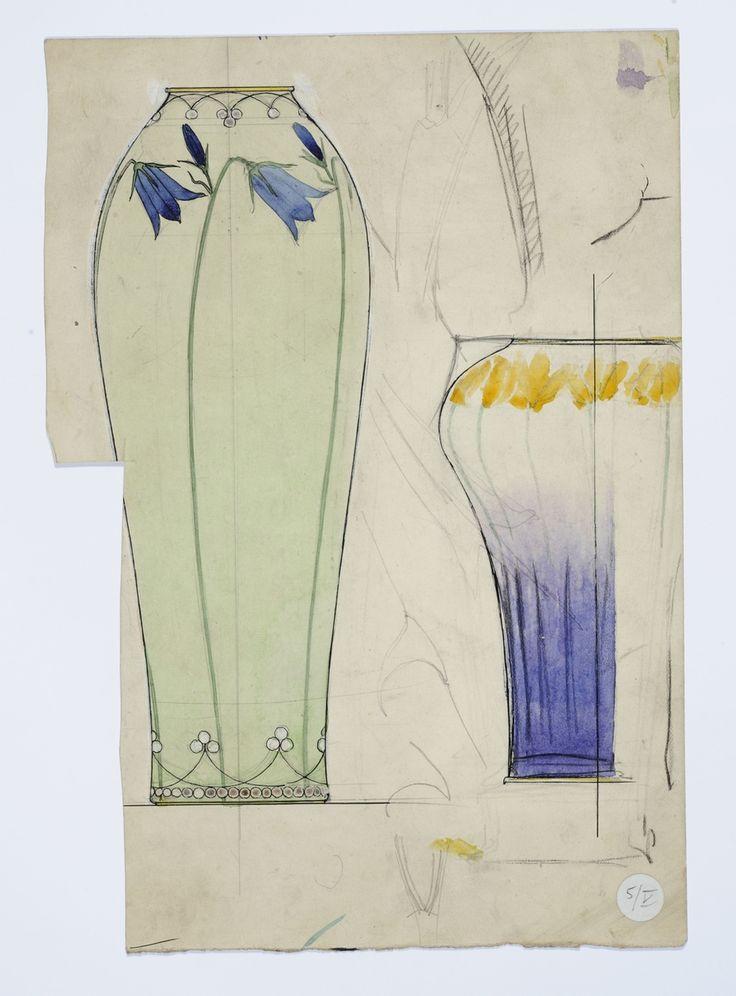 Gustav Gaudernack watercolor sketch for two silver vases with floral enamel decor. 1906-1910 Tegning @ DigitaltMuseum.no