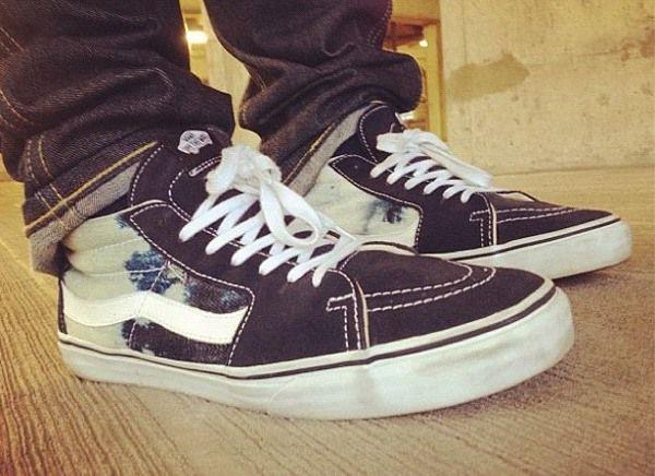 vans sk8 hi supreme bleached denim sneakers pinterest