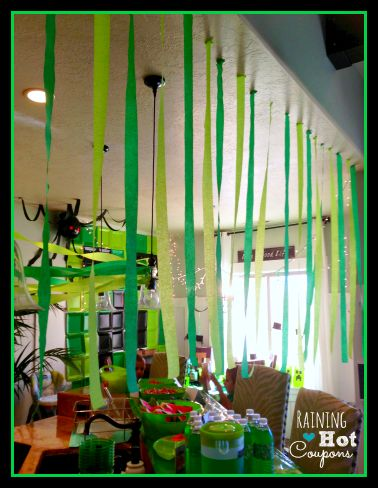 Spiders made with black balloons, crepe paper and red paper/tape? eyes by Minecraft Party Ideas - Raining Hot Coupons