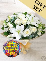 Wonderfully White Hand-Tied & Father's Day Balloon