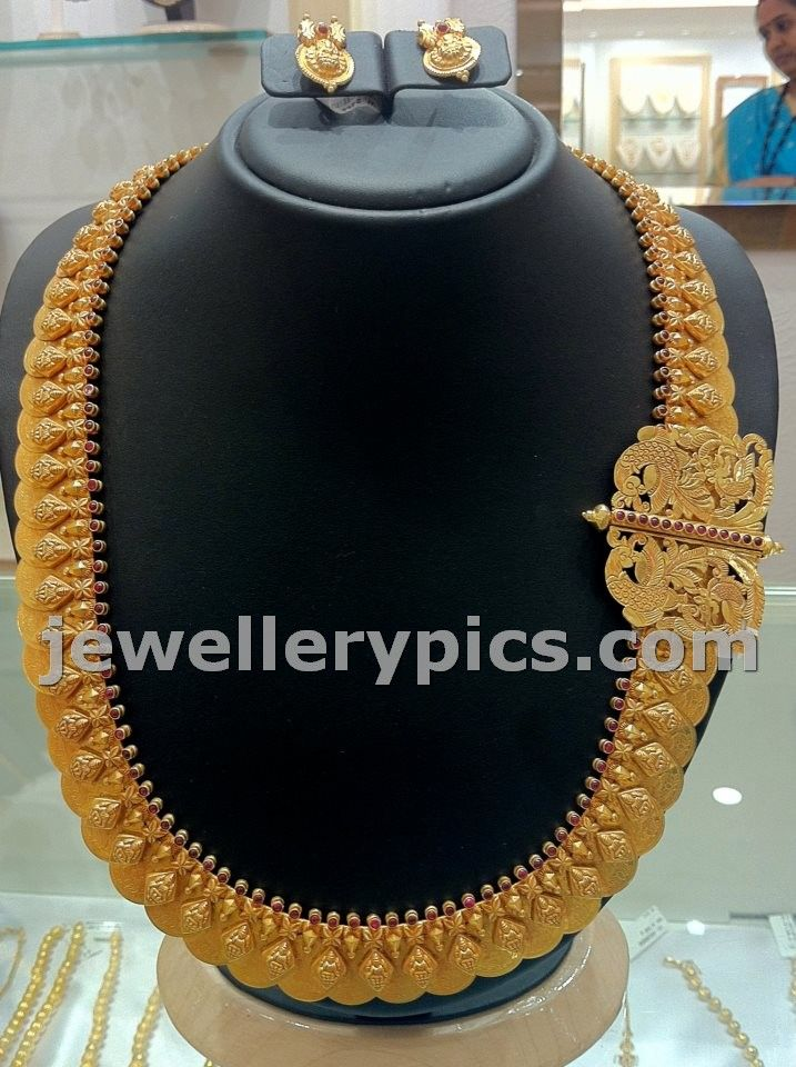 Antique gold Kasulaperu with side mopu or pendent at Nalli jewellers - Latest Jewellery Designs