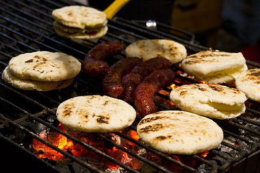 Colombian arepas and chorizos.