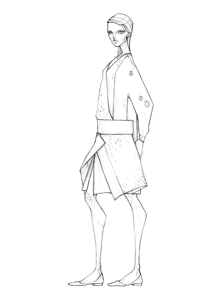 Fashion Sketch - fashion design drawing for the designer's Fall 2015 collection // Milan Zejak
