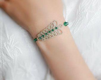Chiacchierino gioielli da sposa di pizzo gioielli argento Bracciale - foglia di felce di pizzo-