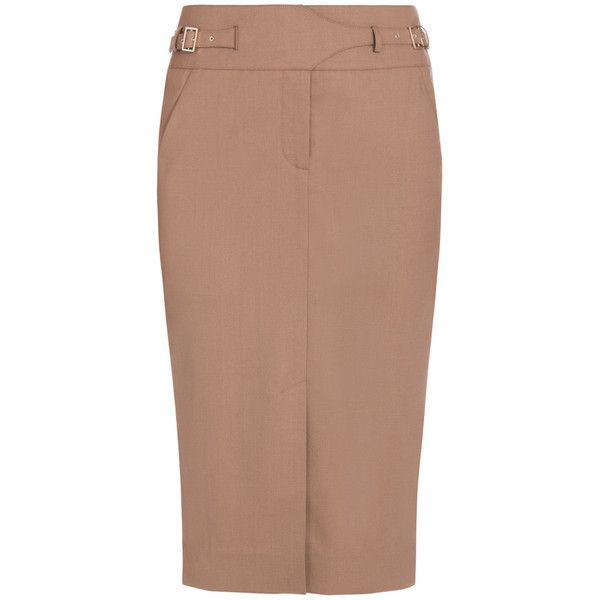 Jason Wu Utility Pencil Skirt ($377) ❤ liked on Polyvore featuring skirts, bottoms, brown, jason wu, brown pencil skirt, wool skirt, fitted pencil skirt and beige skirt