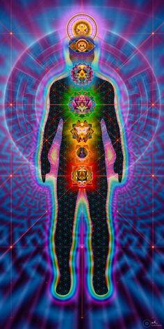 Chakras Body  Charger - Sacred Geometry Visionary Art Tapestry - Large 230x150cm - Healing, Meditation, Yoga, Spiritual, Energy, Chakras