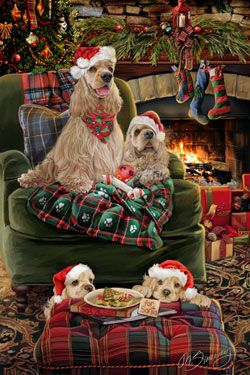 "New for 2014! Cocker Spaniel Christmas Holiday Cards are 8 1/2"" x 5 1/2"" and come in packages of 12 cards. One design per package. All designs include matching envelopes, your personal message, and choice of greeting. Select the inside greeting of your choice from the menu below.Add your custom personal message to the Comments box during checkout."