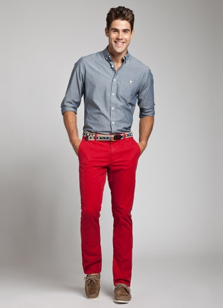 I'm surprised to find myself wanting a pair of red or salmon pants. I like grey/denim shirts with it.