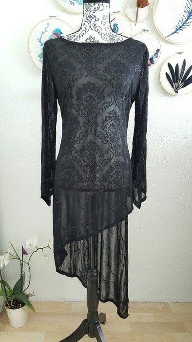 3 Teiler in schwarz mit Glitzer Abendkleid asymmetrisches Kleid