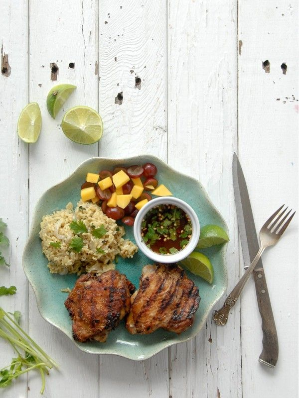 ... -Style Chicken Thighs with Sweet-Spicy Dipping Sauce and Coconut Rice