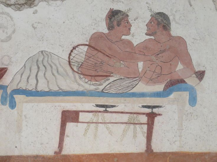 Paestum Italy. Greek painting found in the colony located in Paestum.