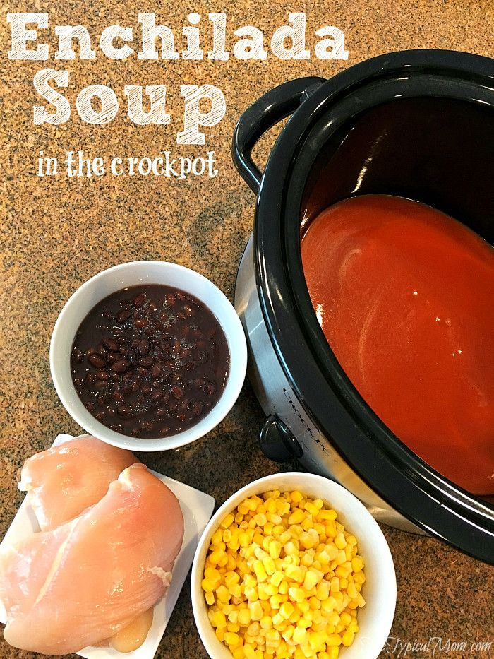 EASY chicken enchilada soup recipe that tastes delicious and cooks by itself all day in your slow cooker.