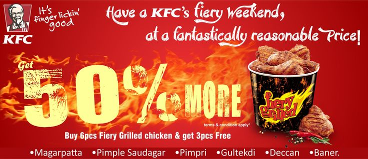 Have a fiery #KFC #weekend with Zaykedaar! Get 50% more fiery grilled chicken and avail 50% discount on your next order on zaykedaar.com!