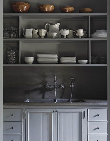 Gray.: Butler Pantries, Idea, Open Shelves, Paintings Cabinets, Sinks, Grey Kitchens, Pantries Shelves, Gray Cabinets, Kitchens Cabinets