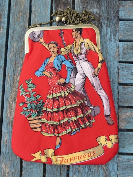 'Flamenco'.  A Spanish couple dance across this cross-body bag made from a 1950's scarf. With chain handle, and gift box.