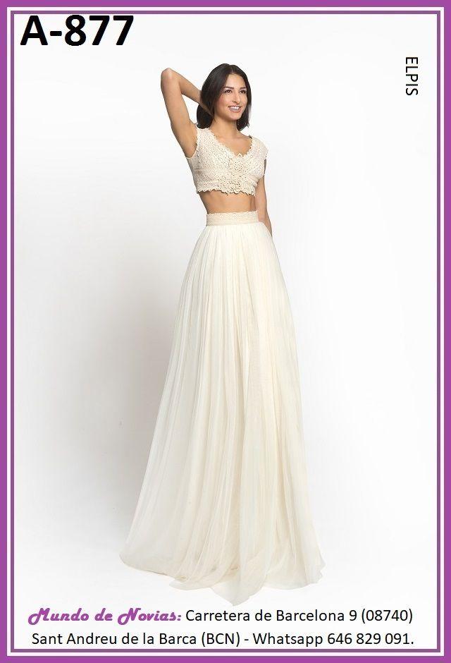 Exclusivo y Original Vestido de Novia Bohemio y Vintage con TOP y Falda Clásica realizado a mano hasta el último detalle.