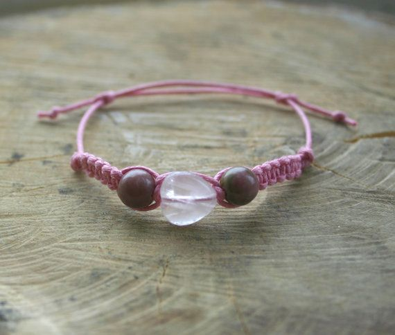 Bracelet Rose Quartz Heart bead and Rhodonite Pink by TriouZ, £6.75