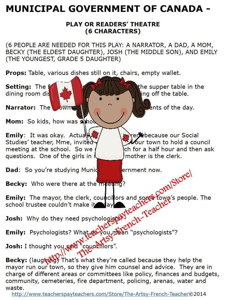 Canadian Municipal Government Play or Readers' Theatre is a 5 page intro or summary of local government.  Employing humour and simple props, it can be used to introduce government in an engaging, palatable way to our grade 5-8 students.